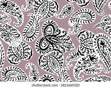 Seamless pattern with fantasy flowers, natural wallpaper, floral decoration curl illustration. Paisley print hand drawn elements. Home decor. . Lilac on black