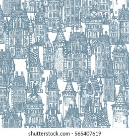 Seamless pattern of fantasy landscape. Fairy tale castle, old medieval town. Hand drawn sketch of house, tower silhouette. T-shirt print. Blue and white painting. Batik, wallpaper, wrapping paper