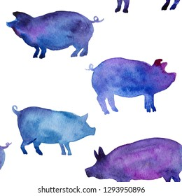 Seamless pattern with farm animal drawing in watercolor. Pink pig illustration. Chinese calendar Zodiac for 2019 New Year of yellow earth pig. Isolated on white. Illustration for print, cards