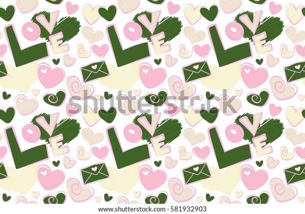 Seamless pattern with fashion patch badges with hearts, letter on a white background. Raster sketch with stickers, pins, patches in cartoon 80s-90s comic style in beige and green colors.