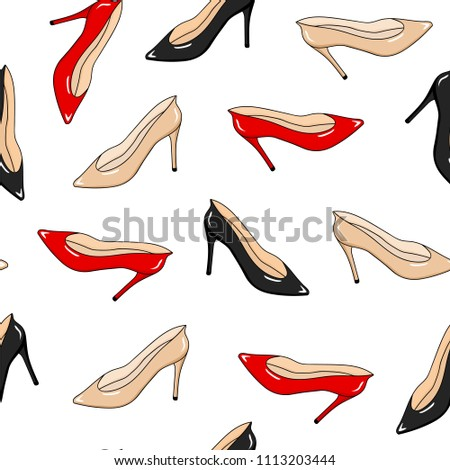 Seamless Pattern Fashion Womans Shoes Red Beige Black Glamour Wallpaper Hand Drawing
