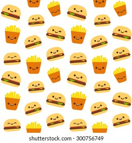 Seamless pattern of fast food: burgers and french fries with cute smiley faces.