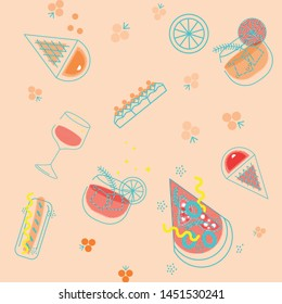 Seamless pattern of fast food products. Color illustration of a icon of street food and cafe isolated on a dark background. Tasty pictures of pizza, hot-dog, ice cream, vine and cocktail.