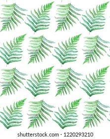 seamless pattern with fern watercolor painting illustration