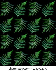 seamless pattern with fern watercolor painting illustration, version on black background