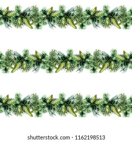 Seamless pattern of fir branches, watercolor illustration.