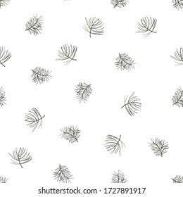 Seamless pattern with fir branches. White background with green pine branches. Watercolor illustration for print and use in design.