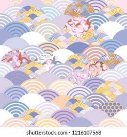 seamless pattern fish scales simple Nature background with japanese sakura flower, rosy pink Cherry, wave circle violet purple cobalt orange burgundy colors.
