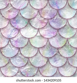 Seamless pattern of fish scales, fish skin, mother of pearl texture, 3d illustration