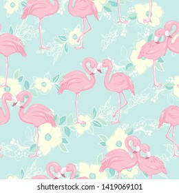 seamless pattern with flamingos illustration