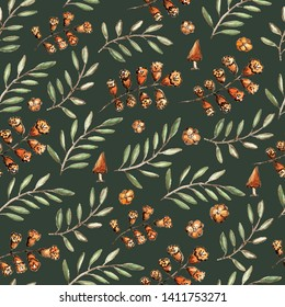 Seamless pattern with floral branches and mushrooms.  Pale green, orange shades. Rustic style. Watercolor and sepia ink mixed media. Dark green background