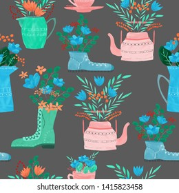 Seamless pattern with floral compositions in teapot, cup, boots, sneakers. Red, orange, blue flowers, green branches. Digital hand painted style. Dark background