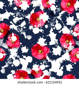 Seamless pattern floral design. Bright background with flowers, splashes and watercolor effect. Textile print for bed linen, jacket, package design, fabric and fashion concepts