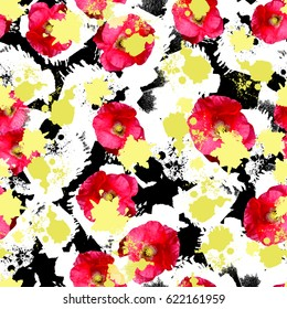 Seamless pattern floral design. Bright background with flowers, splashes and watercolor effect. Textile print for bed linen, jacket, package design, fabric and fashion concepts.