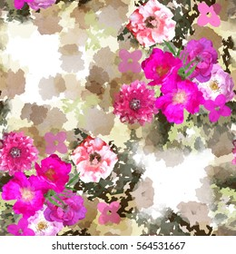 Seamless pattern floral design. Camo background with flowers and watercolor effect. Textile print for bed linen, jacket, package design, fabric and fashion concepts.