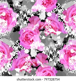 Seamless pattern floral design. Grunge background with flowers, houndstooth elements and watercolor effect. Textile print for bed linen, jacket, package design, fabric and fashion concepts.