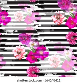 Seamless pattern floral design. Striped background with flowers and watercolor effect. Textile print for bed linen, jacket, package design, fabric and fashion concepts.