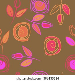 Seamless pattern of floral motif, branches, leaves, rose flowers, spiral, hole, spots. Hand drawn.