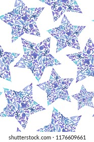 Seamless pattern with floral stars