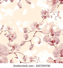 Seamless pattern. Floral watercolor background blooming orchids - AF