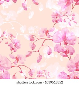 Seamless pattern. Floral watercolor background blooming orchids - EF