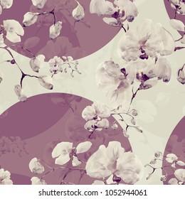 Seamless pattern. Floral watercolor background blooming orchids - UO