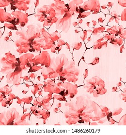 Seamless pattern. Floral watercolor background blooming orchids.