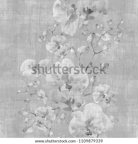 Seamless pattern. Floral watercolor background blooming orchids - YK