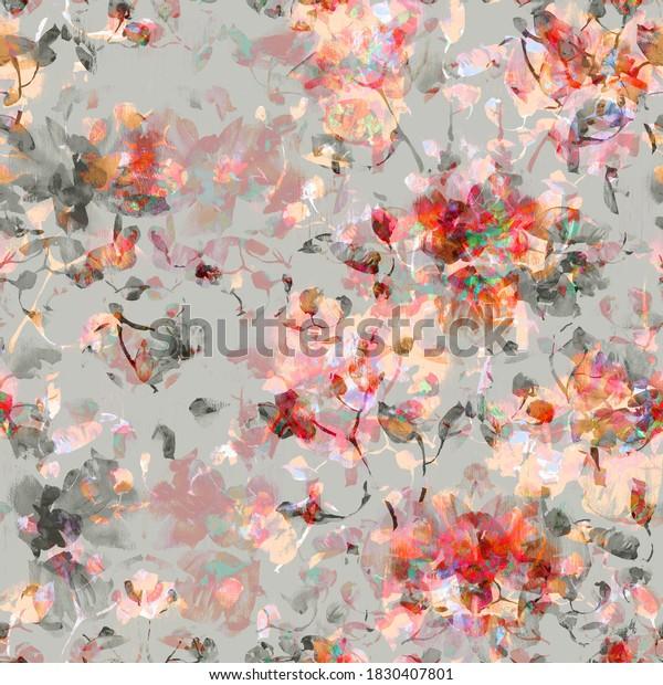Бесшовные модели.  Цветочный акварельный фон цветущие орхидеи