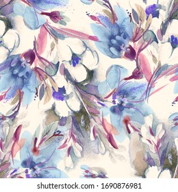 Seamless Pattern of Flowers Bouquet. Watercolor Hand Painted Background.