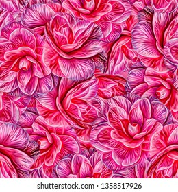 Seamless pattern with flowers. Camellia. Pattern for print, advertising, web design. Stylization: watercolor.