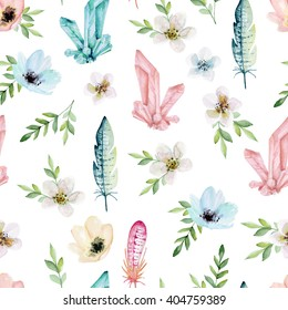 Seamless pattern with flowers, crystals and feathers. Watercolor hand drawn