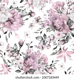 Seamless pattern with flowers and exotic leaves. Hand drawn background.  floral pattern for wallpaper or fabric. Flower rose. Botanic Tile.