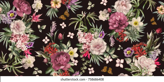 Seamless pattern with flowers and exotic leaves on black background.  floral pattern for wallpaper or fabric. Flower rose and peonies. Botanic Tile.