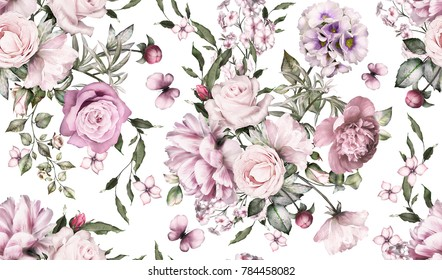Seamless pattern with flowers and exotic leaves. Hand drawn background.  floral pattern for wallpaper or fabric. Flower rose and peonies. Botanic Tile.