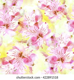 Seamless pattern with flowers. Floral watercolor seamless background. Textile print for bed linen, jacket, package design, fabric and fashion concepts