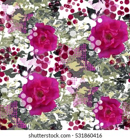 Seamless pattern with flowers and halftone elements. Floral background. Camouflage swatch with watercolor effect. Textile print for bed linen, jacket, package design, fabric and fashion concepts.