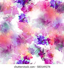 Seamless pattern with flowers and halftones elements. Stylized background with watercolor effect. Textile print for bed linen, jacket, package design, fabric and fashion concepts