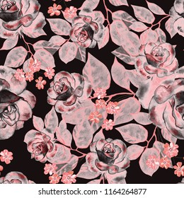 Seamless pattern with flowers and leaves. Floral pattern for Wallpaper, paper and fabric. Watercolor hand drawing. Pink roses on a black background.
