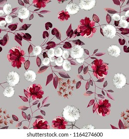 Seamless pattern with flowers and leaves. Floral pattern for Wallpaper, paper and fabric. Watercolor hand drawing. Burgundy flowers on grey background.