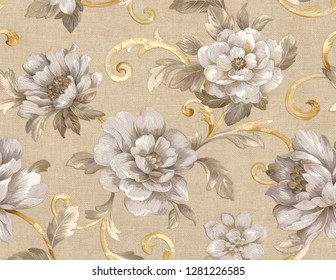 Seamless pattern with flowers and leaves. Floral pattern for wallpaper or fabric.