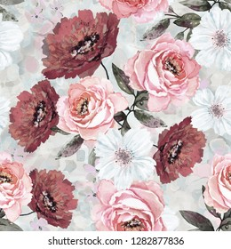 Seamless pattern with flowers and leaves. Floral background for Wallpaper, paper and fabric. Watercolor painting with pink and Burgundy roses.