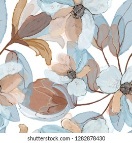 Seamless pattern with flowers and leaves. Floral background for Wallpaper, paper and fabric. Watercolor painting with blue and beige colors.