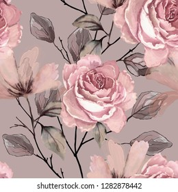 Seamless pattern with flowers and leaves. Floral background for Wallpaper, paper and fabric. Watercolor painting with pink roses.