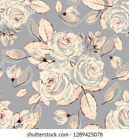 Seamless pattern with flowers and leaves. Floral background for Wallpaper, paper and fabric.  Vintage watercolors with pink roses on a gray background, tiles.