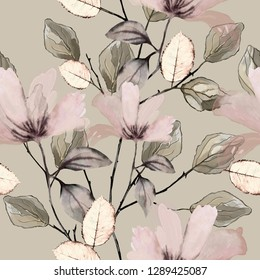 Seamless pattern with flowers and leaves. Floral background for Wallpaper, paper and fabric.  Vintage watercolors with pink flowers, tiles.