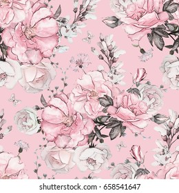 Seamless pattern with flowers and leaves on pink background, watercolor floral pattern, flower rose in pastel color, tile for wallpaper, card or fabric