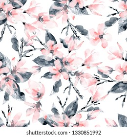 Seamless pattern with flowers and leaves. Pink magnolia flowers and black leaves and branches. Watercolor floral illustration.