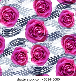 Seamless pattern with flowers and lines. Roses on striped background. Textile print for bed linen, jacket, package design, fabric and fashion concepts