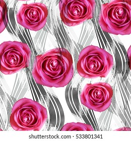 Seamless pattern with flowers and lines. Roses on striped background. Textile print for bed linen, jacket, package design, fabric and fashion concepts.